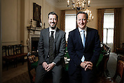 Portrait of British Prime Minister David Cameron  with Western Mail editor Graeme Demianyk in Downing Street on Thursday 19th June 2014<br /> Photos by Ki Price