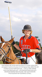 Polo player MR JACK KIDD brother of model Jodie Kidd,  at a polo match in Surrey on 21st September 2002.PDJ 49