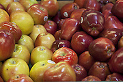 Close-up of red apples on display in market