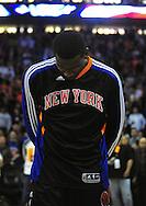 Jan. 7 2011; Phoenix, AZ, USA; New York Knicks forward Amar'e Stoudemire (1) reacts on the court against the Phoenix Suns at the US Airways Center. The Knicks defeated the Suns 121-96. Mandatory Credit: Jennifer Stewart-US PRESSWIRE.