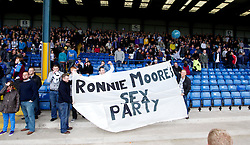 BURY, ENGLAND - Saturday, March 31, 2012: Tranmere Rovers fans with a banner saying 'Ronnie Moore's Sex Party' before the Football League One match against Bury at Gigg Lane. (Pic by Vegard Grott/Propaganda)