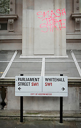 © London News Pictures. 25/11/10  Clean up in Whitehall following the second student protest against increasing university fees, London. Photo credit should read Olivia Harris/London News Pictures