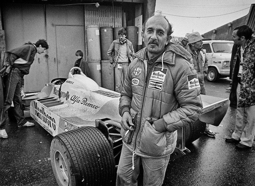 Ermanno Cuoghi, seen here in the aftermath of the 1981 Canadian Grand Prix was a legendary racing mechanic that had partnered with  Niki Lauda to win two World Driver's Championships (1975, 1977) at Ferrari. Following his public firing from Ferrari for agreeing to join Lauda at Brabham in 1978, he became part of the political intrigue that lead Lauda to walk away from Ferrari two races before the end of the 1977 season. <br />