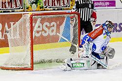 Robert Kristan (KHL Medvescak Zagreb, #33) during ice-hockey match between HDD Tilia Olimpija and KHL Medvescak Zagreb in 47th Round of EBEL league, on January 27, 2012 at Hala Tivoli, Ljubljana, Slovenia. (Photo By Matic Klansek Velej / Sportida)