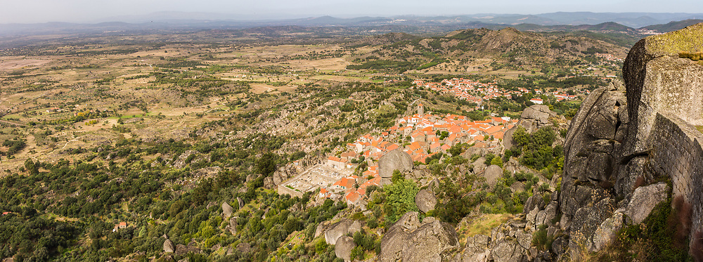 Monsanto Castle is perched above the village of Mondsanto, Portugal