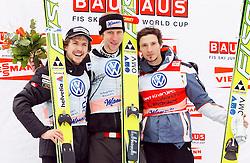 18.03.2012, Planica, Kranjska Gora, SLO, FIS Ski Sprung Weltcup,  im Bild Siegerehrung Einzelspringen Simon Ammann (SUI), Martin Koch (AUT) und Robert Kranjec (SLO),   during the FIS Skijumping Worldcup, at Planica, Kranjska Gora, Slovenia on 2012/03/18. EXPA © 2012, PhotoCredit: EXPA/ Oskar Hoeher.