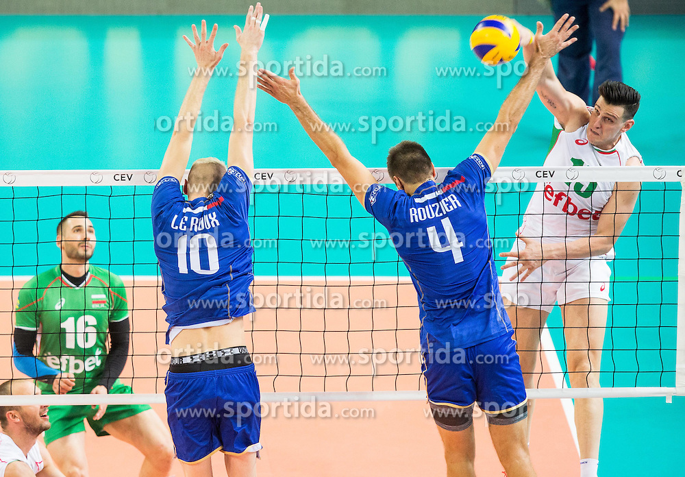Kevin Le Roux #10 of France and Antonin Rouzier #4 of France vs Todor Aleksiev of Bulgaria during volleyball match between National teams of France and Bulgaria in 2nd Semifinal of 2015 CEV Volleyball European Championship - Men, on October 17, 2015 in Arena Armeec, Sofia, Bulgaria. Photo by Vid Ponikvar / Sportida