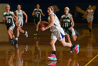 Julia Harris of Gilford brings the ball down court during NHIAA Division III basketball with Newfound on Tuesday evening.  (Karen Bobotas/for the Laconia Daily Sun)
