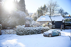 © Licensed to London News Pictures. 30/01/2019. Butlers Cross, UK.  A snow covered scene near Butlers Cross, Buckinghamshire, as snow hits the south east of England. Photo credit: Ben Cawthra/LNP