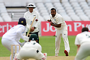 Samit Patel of Nottinghamshire bowling from the Pavillion end during the Bob Willis Trophy match between Nottinghamshire County Cricket Club and Derbyshire County Cricket Club at Trent Bridge, Nottingham, United Kingdon on 4 August 2020.