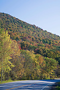 Highway along mountainside of Fall colored trees.