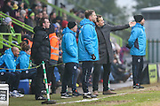 Forest Green Rovers manager, Mark Cooper discusses tactics with Forest Green Rovers assistant manager, Scott Lindsey during the Vanarama National League match between Forest Green Rovers and Boreham Wood at the New Lawn, Forest Green, United Kingdom on 11 February 2017. Photo by Shane Healey.