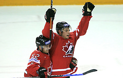 Mike Green and Ryan Getzlaf of Canada celebrate a second goal at play-off round quarterfinals ice-hockey game Norway vs Canada at IIHF WC 2008 in Halifax,  on May 14, 2008 in Metro Center, Halifax, Nova Scotia,Canada. (Photo by Vid Ponikvar / Sportal Images)