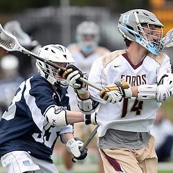 Staff photos by Tom Kelly IV<br /> Haverford's Forry Smith (14) fires a shot on goal as Episcopal's Jason Miller (33) tries to defend him during the Episcopal Academy at the Haverford School boys lacrosse game on Tuesday, April 7, 2015.