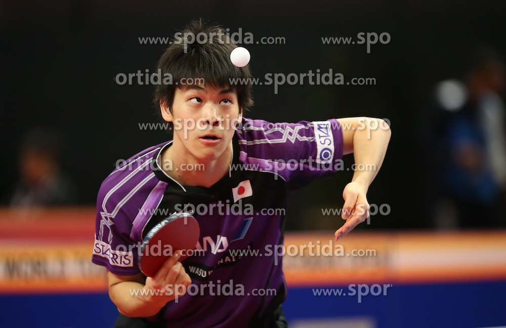 20.03.2015, OEVB Arena, Bremen, GER, Tischtennis German Open 2015, im Bild Masaki Yoshida (JPN) bei der Angabe // during the Ping pong German Open 2015 at the OEVB Arena in Bremen, Germany on 2015/03/20. EXPA Pictures &copy; 2015, PhotoCredit: EXPA/ Eibner-Pressefoto/ Wuest<br /> <br /> *****ATTENTION - OUT of GER*****