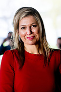 LEIDEN Queen Maxima visits a workshop on digital composition at the Pabo of Hogeschool Leiden on Thursday 12 April 2018. She attends teacher training for primary education in her capacity as honorary president of Méér Muziek in de Klas. ROBIN UTRECHT