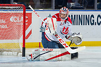 KELOWNA, CANADA - NOVEMBER 17: Stuart Skinner #74 of the Lethbridge Hurricanes warms up in net against the Kelowna Rockets on November 17, 2017 at Prospera Place in Kelowna, British Columbia, Canada.  (Photo by Marissa Baecker/Shoot the Breeze)  *** Local Caption ***