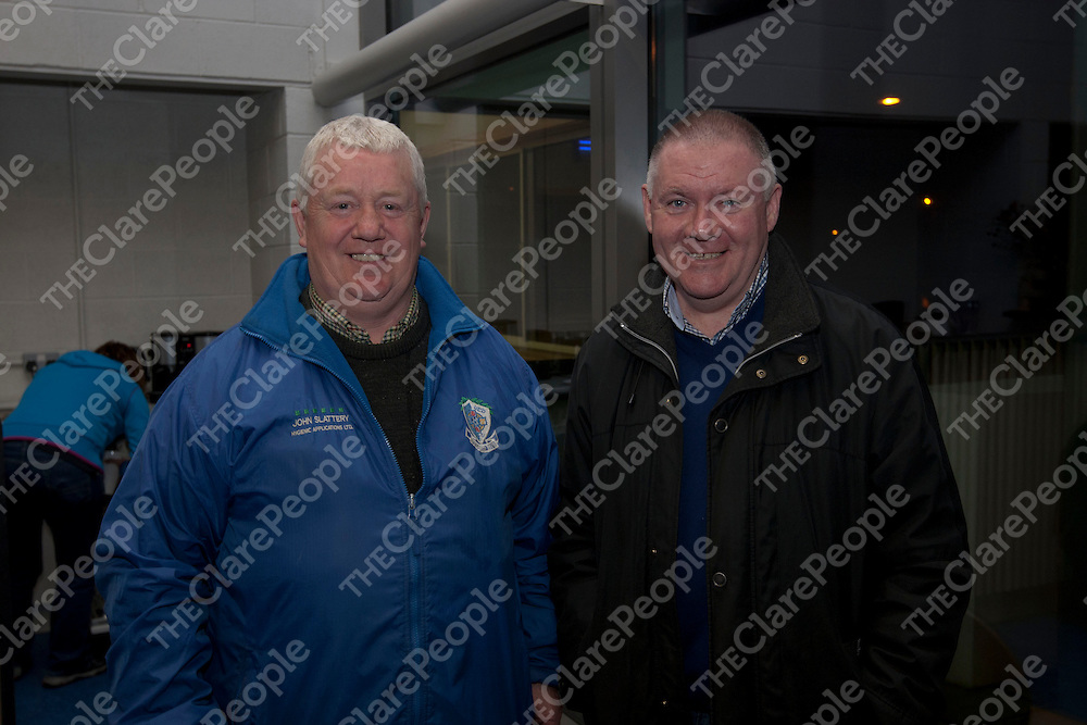 Pictured at the Clare Sports Partnership sports Awards were Mike Howie, Tulla United &amp; Martin Hehir Connolly Celtic.<br /> Picture Credit Brian Gavin Press 22