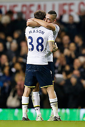 Ryan Mason hugs Nabil Bentaleb after Tottenham Hotspur win 2-1 - Photo mandatory by-line: Rogan Thomson/JMP - 07966 386802 - 30/11/2014 - SPORT - FOOTBALL - London, England - White Hart Lane - Tottenham Hotspur v Everton - Barclays Premier League.