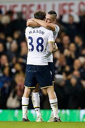 Ryan Mason hugs Nabil Bentaleb after Tottenham Hotspur win 2-1 - Photo mandatory by-line: Rogan Thomson/JMP - 07966 386802 - 30/11/2014 - SPORT - FOOTBALL - London, England - White Hart Lane - Tottenham Hotspur v Everton - Barclays Premier League.