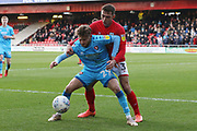 Alfie May and Harry Pickering   during the EFL Sky Bet League 2 match between Crewe Alexandra and Cheltenham Town at Alexandra Stadium, Crewe, England on 18 January 2020.