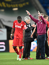 08.11.2014, Rhein Neckar Arena, Sinsheim, GER, 1. FBL, TSG 1899 Hoffenheim vs 1. FC Köln, 11. Runde, im Bild Jubel Freude Schlussjubel nach Sieg bei Mannschaft von Koeln Trainer Peter Stoeger 1. FC Koeln (rechts) schickt seine Maenner in die Fankurve // during the German Bundesliga 11th round match between TSG 1899 Hoffenheim and 1. FC Cologne at the Rhein Neckar Arena in Sinsheim, Germany on 2014/11/08. EXPA Pictures © 2014, PhotoCredit: EXPA/ Eibner-Pressefoto/ Weber<br /> <br /> *****ATTENTION - OUT of GER*****
