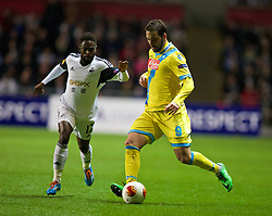 SWANSEA, WALES - Thursday, February 20, 2014: SSC Napoli's Gonzalo Higuain in action against Swansea City during the UEFA Europa League Round of 32 1st Leg match at the Liberty Stadium. (Pic by David Rawcliffe/Propaganda)