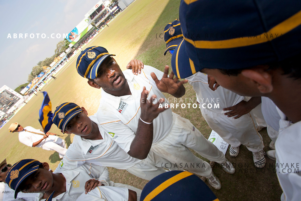 Royal College captain Ramith Rambukwella gives his team speech just before the players walk onto the field.