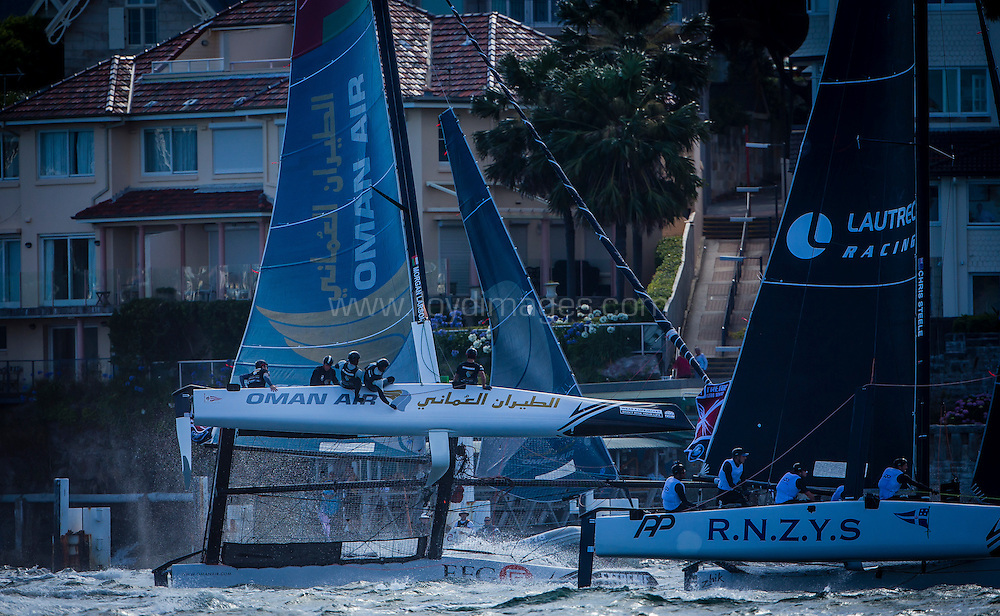 The Extreme Sailing Series 2016. Oman Air : Morgan Larson (USA) - helmsman/skipper, Pete Greenhalgh (GBR) – mainsail trimmer, Nasser Al Mashari (OMA) – bowman, Ed Smyth (NZL/AUS) - trimmer, James Wierzbowski (AUS) – bowman. Act 8.Sydney,Australia. 8th-11th December 2016. Credit - Jesus Renedo/Lloyd Images