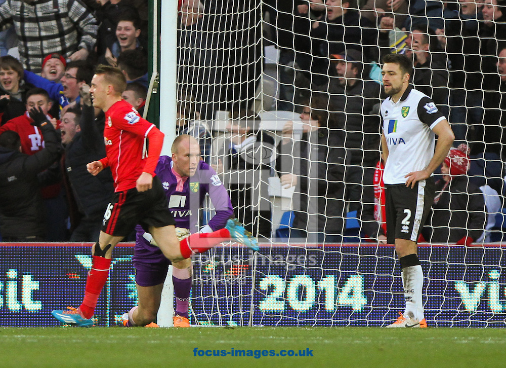 Picture by Tom Smith/Focus Images Ltd 07545141164<br /> 01/02/2014<br /> John Ruddy (back left) and Russell Martin (right) of Norwich City can not believe it as Cardiff take the lead during the Barclays Premier League match at the Cardiff City Stadium, Cardiff.