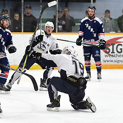 DRYDEN, ON - MAY 2: Conner Mowatt #19 of the Dryden GM Ice Dogs celebrates the goal in the second period during Game Four of the Central Canadian Junior Championship during the 2018 Dudley Hewitt Cup on May 2, 2018 at the Dryden Memorial Arena in Dryden, Ontario, Canada. (Photo by Andy Corneau/DHC via OJHL Images)