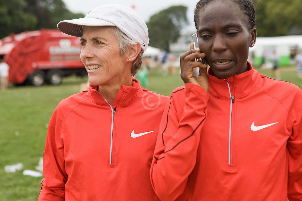 Joan Benoit Samuelson and Catherine Ndereba after race