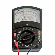 Analog multimeter being used as a voltmeter
