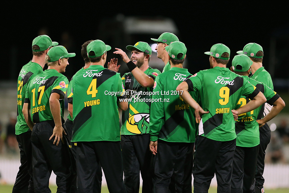The Stags celebrate a wicket during the Burger King Super Smash Twenty20 cricket match Knights v Stags played at Bay Oval, Mount Maunganui, New Zealand on Wednesday 27 December 2017.<br /> <br /> Copyright photo: &copy; Bruce Lim / www.photosport.nz