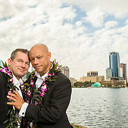 Robby Pigott and Jim Harrison pose at Lake Eola in Orlando, FL.<br />