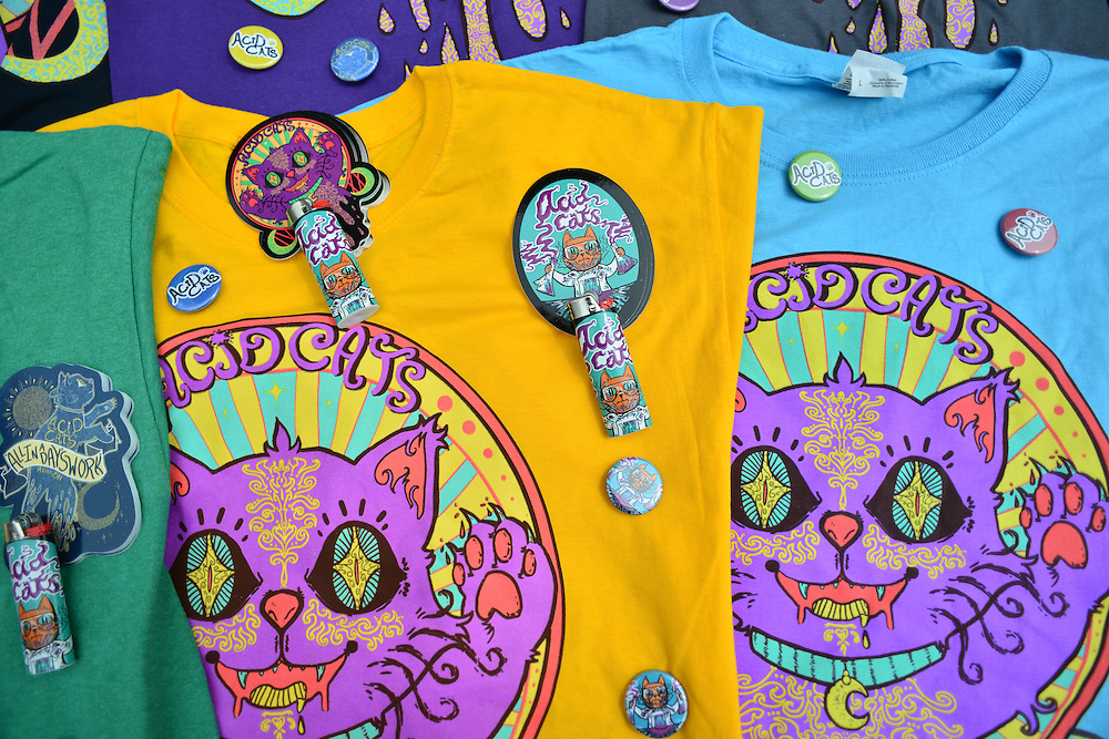 Acid Cats merchandise at Block to Lock: Bike for the Earth Day.