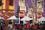 Young people having drinks in the evening, Barrio Bellavista, Santiago, Chile