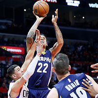 09 November 2015: Memphis Grizzlies forward Matt Barnes (22) goes for the jump shot over Los Angeles Clippers guard Austin Rivers (25) during the Los Angeles Clippers 94-92 victory over the Memphis Grizzlies, at the Staples Center, in Los Angeles, California, USA.