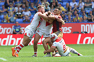 Brayden Wiliame of Catalans Dragons is tackled by the St Helens defence during the Ladbrokes Challenge Cup Semi Final match at the Macron Stadium Stadium, Bolton.<br /> Picture by Michael Sedgwick/Focus Images Ltd +44 7900 363072<br /> 05/08/2018