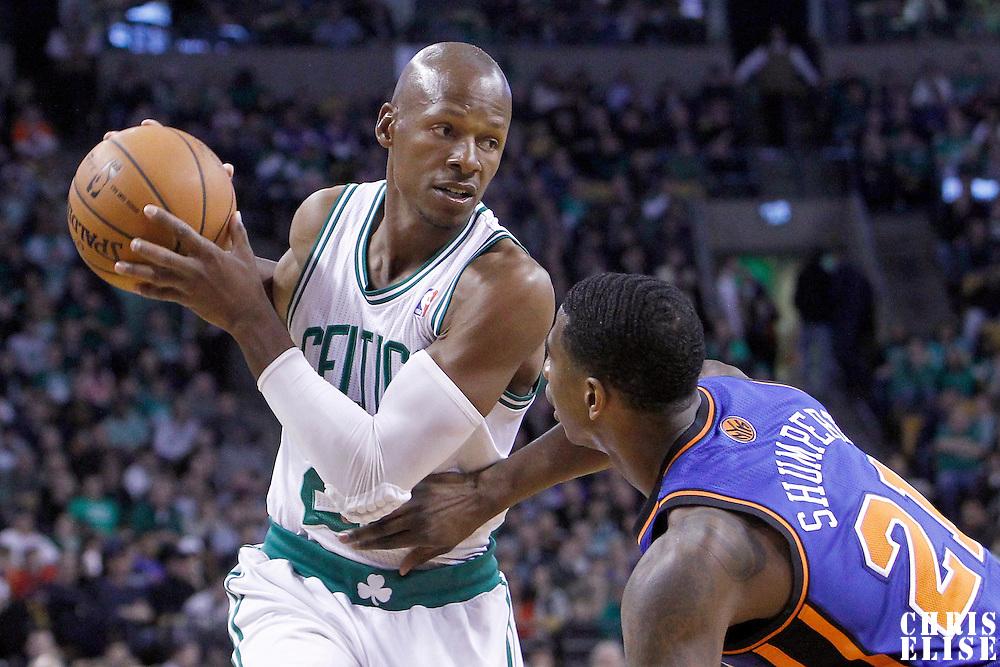 04 March 2012: New York Knicks guard Iman Shumpert (21) defends on Boston Celtics shooting guard Ray Allen (20) during the first half of Boston Celtics vs the New York Knicks at the TD Garden, Boston, Massachusetts, USA.
