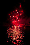 Bastille day fireworks on the Grand Basin of Canal du Midi in Castelnaudary France