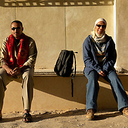 Egypt, Luxor. November/17/2008...Rowya and Ahmed waiting to leave for work at the temple.