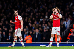 LONDON, ENGLAND - Thursday, December 5, 2019: Arsenal's David Luiz (R) looks dejected as his goal is disallowed for offside after a VAR review during the FA Premier League match between Arsenal FC and Brighton & Hove Albion FC at the Emirates Stadium. (Pic by Vegard Grott/Propaganda)