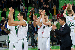 Players of Olimpija after the basketball match between KK Union Olimpija and Unics Kazan (RUS) of 10th Round in Group D of Regular season of Euroleague 2011/2012 on December 21, 2011, in Arena Stozice, Ljubljana, Slovenia. Unics Kazan defeated Union Olimpija 76-63. (Photo by Vid Ponikvar / Sportida)