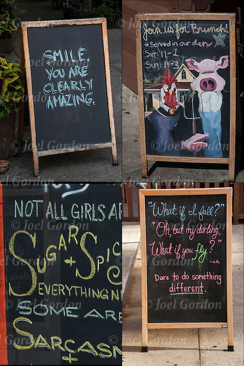 Four blackboard humorous Outdoor Restaurant Signs