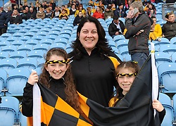 Chloe, Doreen and Megan Kelly supporting Lahardane at the county junior final on sunday last.<br />Pic Conor McKeown