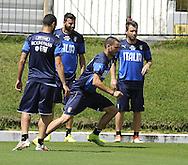 Leonardo Bonucci, Antonio Cassano and Andrea Barzagli during Italy training at Portobello Resort, Natal<br /> Picture by Stefano Gnech/Focus Images Ltd +39 333 1641678<br /> 22/06/2014