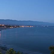 Aerial view at twighlight of Santa Barbara.