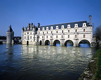 AA00398-02...FRANCE - Chateau Chanonceau with its seven arches spaning Cher River.