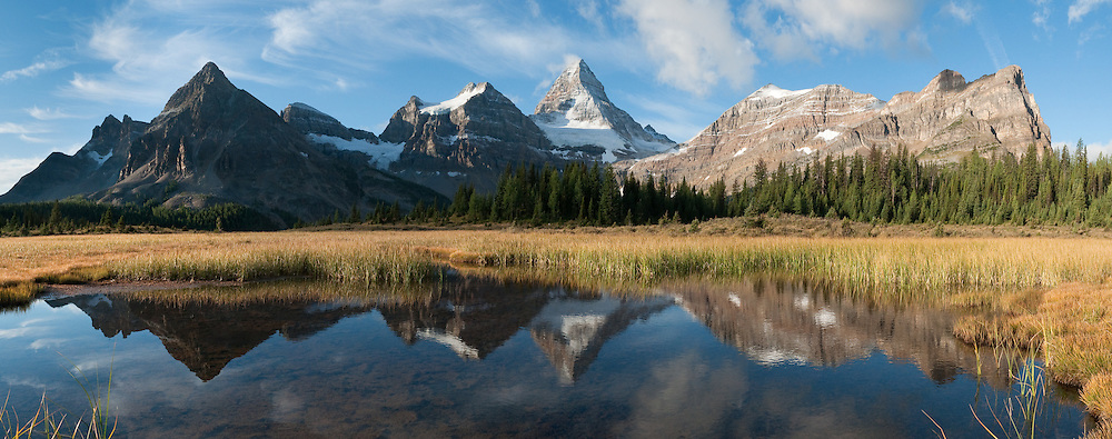 Mount Assiniboine (3618 meters / 11,870 feet), Mount Assiniboine Provincial Park, British Columbia, Canada. This is part of the Canadian Rocky Mountain Parks World Heritage Site declared by UNESCO in 1984. Panorama stitched from 6 images.